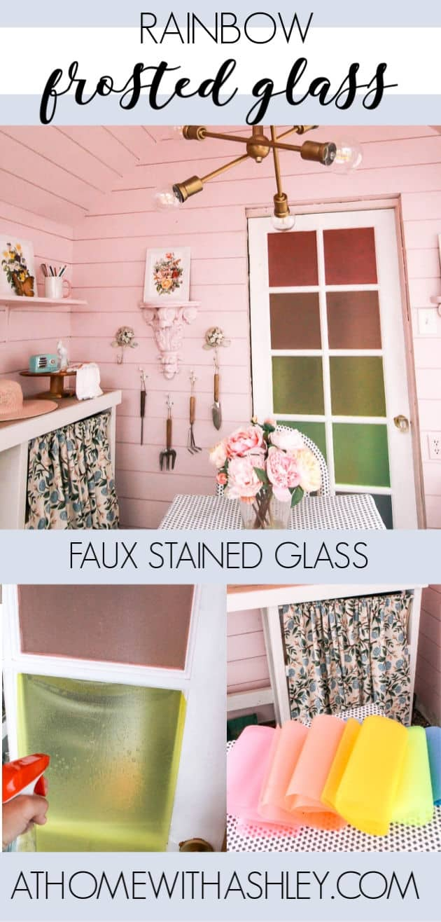 Rainbow DIY frosted glass. How to add window film to look like faux stained glass in lots of colors! It acts like frosted glass and provides privacy for home while being a colorful project. Click through for the tutorial!