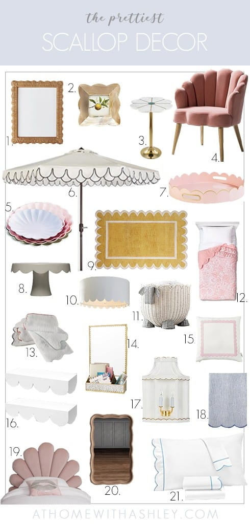 scallop home decor. A round up of accessories and how to add wood scalloped edge trim in a kitchen. This is a big trend in 2020 and looks modern, preppy, and super cute!