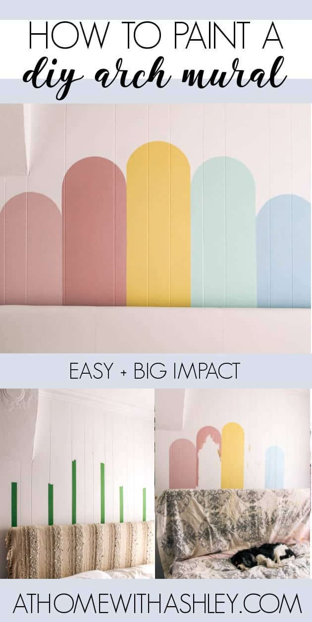 DIY Arch Wall Mural. How to paint a mural on the wall- lots of tips and tricks. Follow this easy step by step tutorial to get a pastel rainbow arch mural