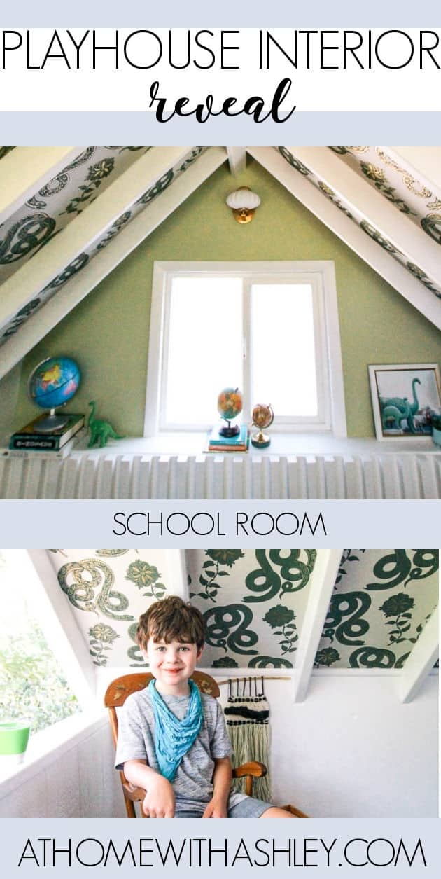 playhouse school reveal. See the interior makeover with decor for a boys wooden play house. It's outdoor and I share ideas for things to DIY in a kids clubhouse. Super cute for children
