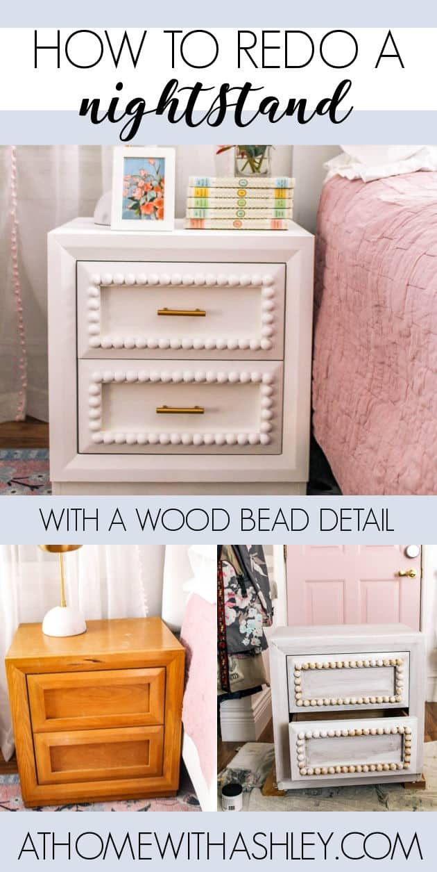 DIY Painted Night Stand with Wood Bead Detail. I share a before and after of my bedside table makeover. I take an old thrifted wood night stand and give ideas of how to redo furniture painted with chalk paint.