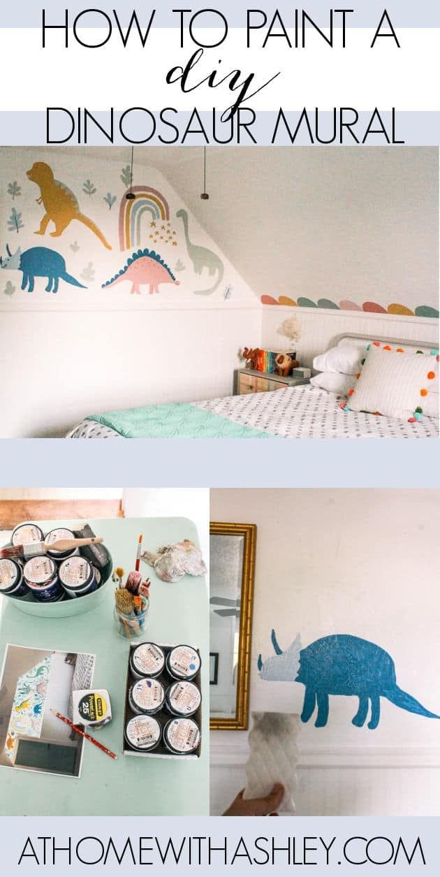 diy dinosaur mural. Tips for painting a dino wall for kids bedrooms or a baby nursery. A full step by step tutorial for how to paint a cute wall mural in a kids room that looks like wallpaper. Simple and easy tips #diy