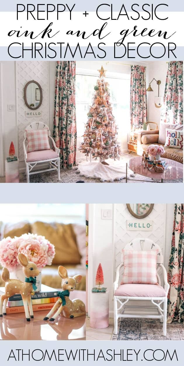 Christmas tree decorations and ideas and themes for 2020 with fun ispiration. I'm using the bow trend which is preppy with the colors pink, green, and gold. Click through to see the tree with my living room decor