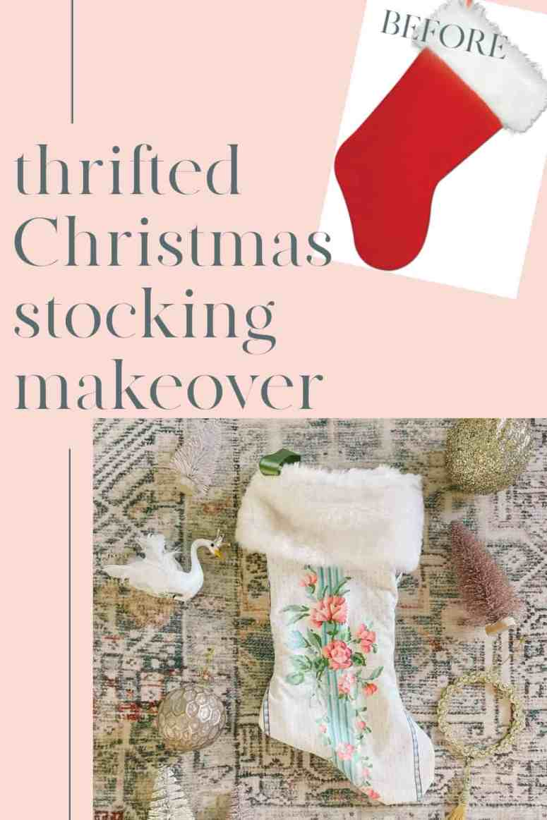 DIY Thrift Store Christmas Stockings. Make your own custom Xmas stocking with a pattern from a thrifted one! Ideas for how to make a stocking with vintage fabric that is homemade. And looks so pretty for decorating for the holidays!