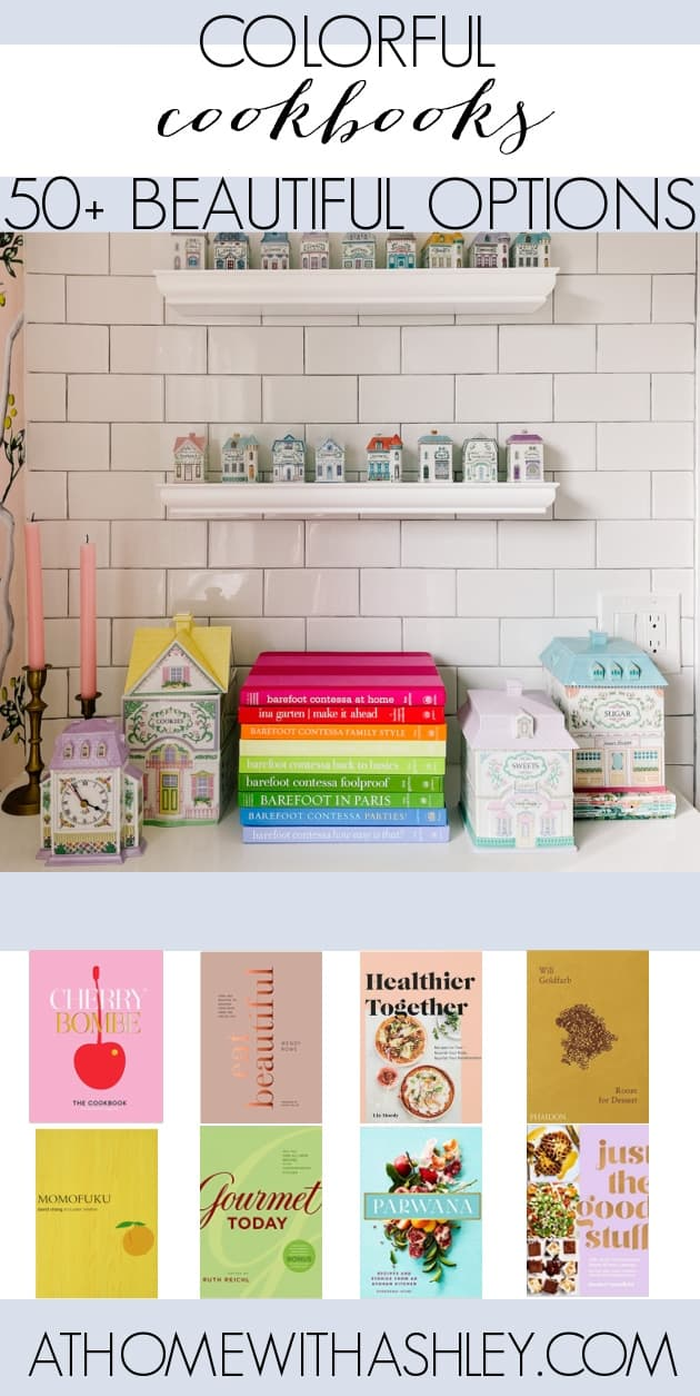 Colorful cookbooks. Storage and display ideas in a kitchen for cookbooks. A round up of a rainbow of books and ways to put them on floating shelves in a beautiful way