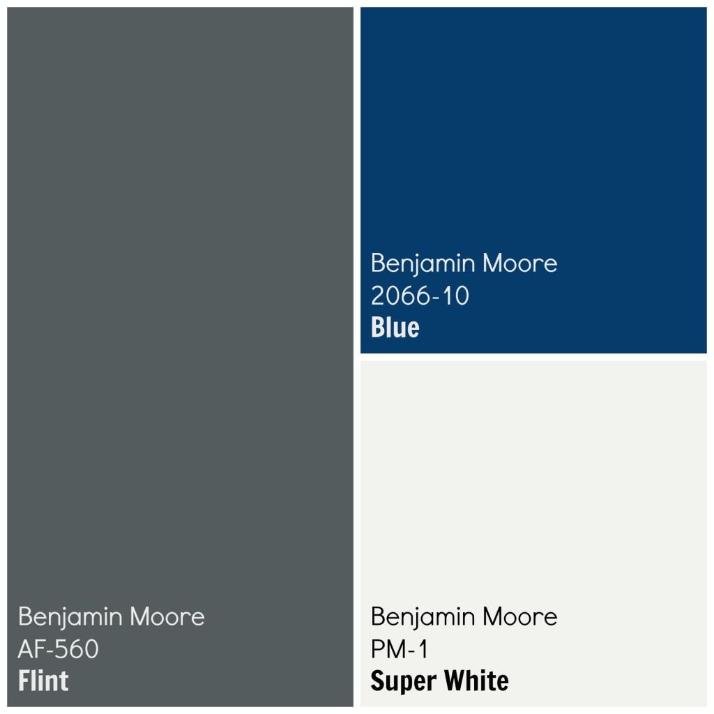 Exterior House Paint Color Palette Scheme Benjamin Moore Flint, Blue, Super White