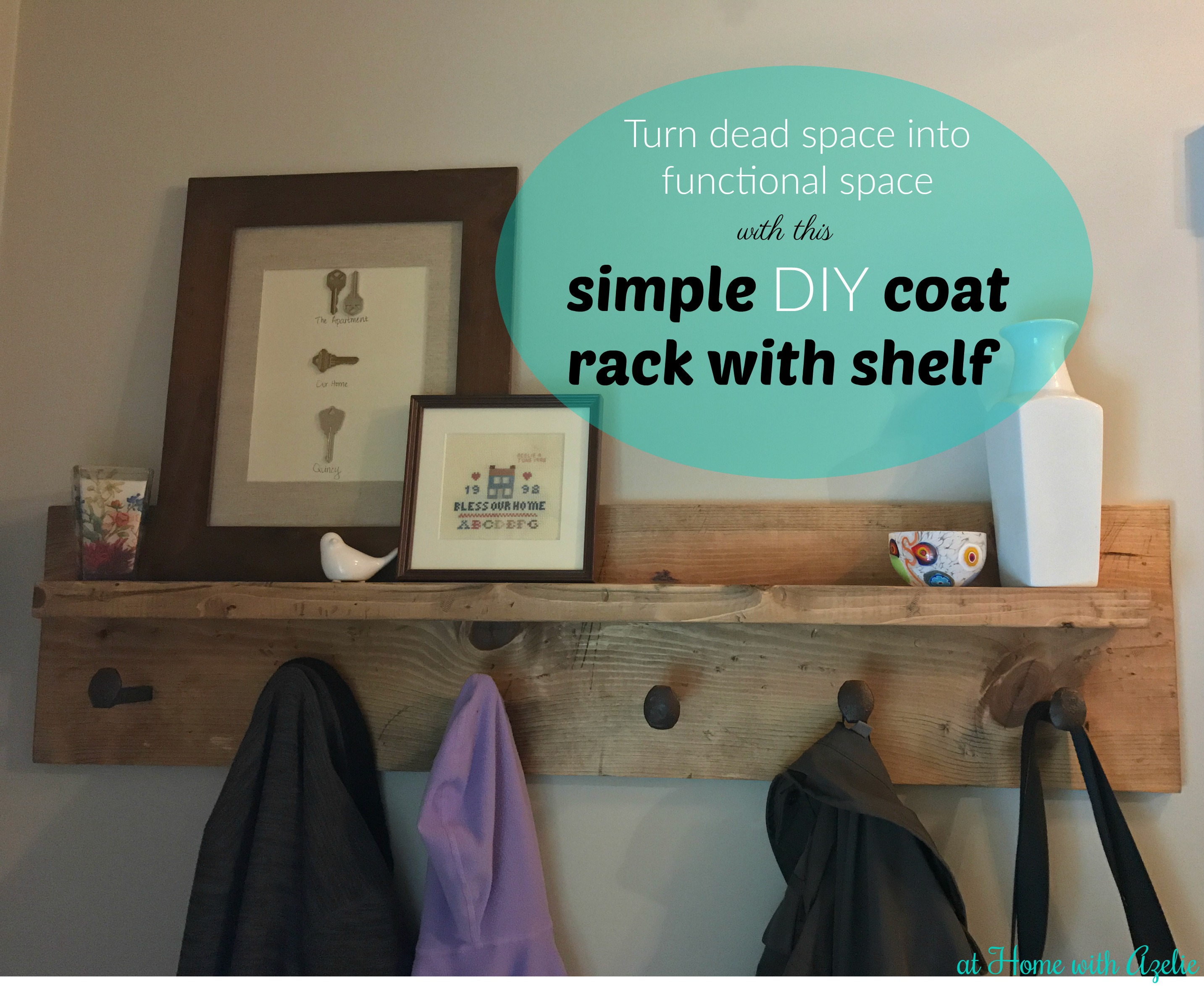 Simple Diy Coat Rack With Shelf And Railroad Spikes Tutorial