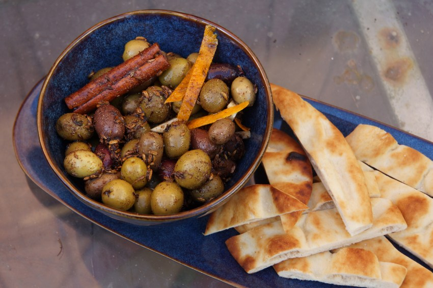 Bring the olives to room temperature and toss once or twice before serving.
