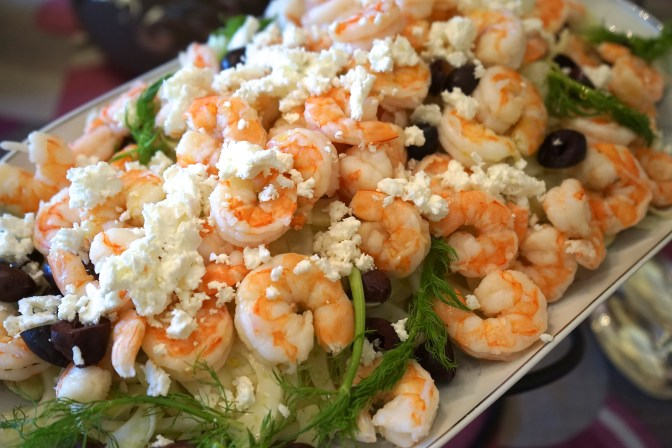Shrimp Salad with Feta Cheese and Olives on a Bed of Fennel.