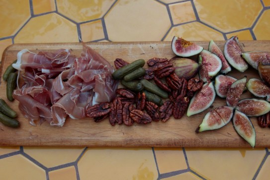 For a quick appetizer, I put out a plate piled with tissue paper thin sliced prosciutto and luscious fresh figs.
