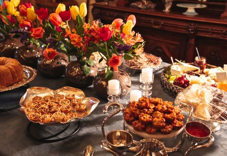 This time, my table top featured lots of silver and silver plated platters and colorful flowers, of course.