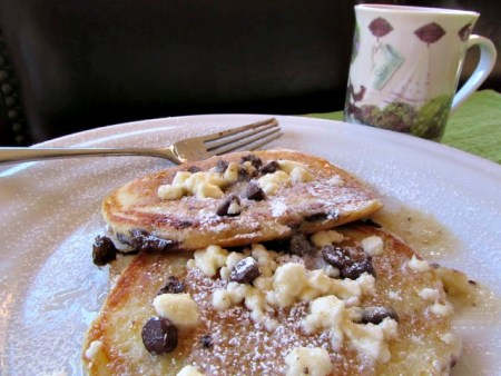 Chocolate Chip Pancakes with Feta Cheese and Brown Butter