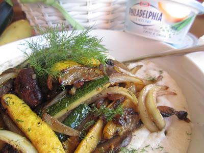Vegetarian Slumgullion and Cheesy Chive Grits