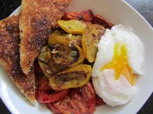 Sauteed Red Tomatoes, Summer Squash and Poached Eggs