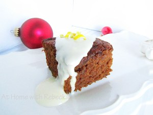 Gingerbread Cake with Lemon Cream Glaze