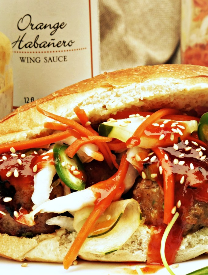 Orange Habanero Banh Mi Sandwiches are bold and spicy meatball sandwiches, and the perfect sandwich recipe for lunch, dinner, or game day food!