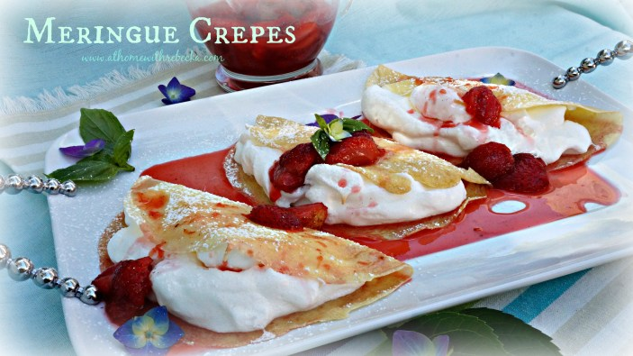 Meringue Crepes with Strawberries Foster Flambe