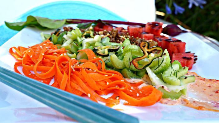 Celery Salad with Spiced Pork