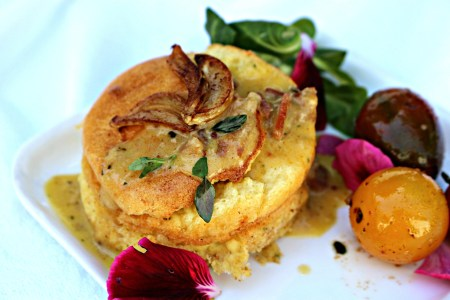 Garlic Goat Cheese Bacon Soufflé WINS Gilroy Garlic CROWN