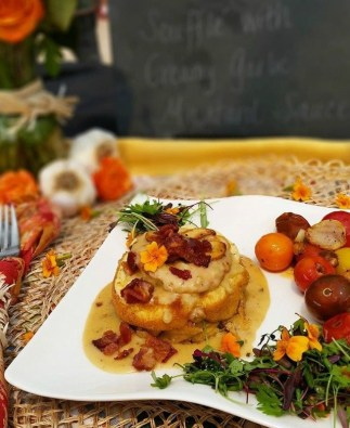 Garlic Goat Cheese Bacon Soufflé from Rebecka Evans