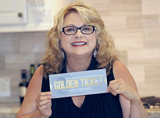 Rebecka Evans and her Golden Ticket to the World Food Championships. She earned her ticket for her award winning Saucy Mama inspired huevos rancheros recipe!