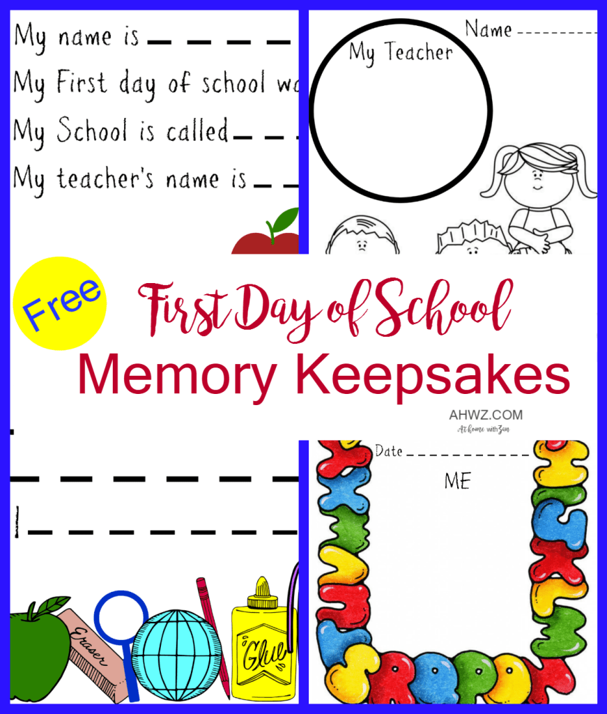 first day of school memory keepsakes for smaller children