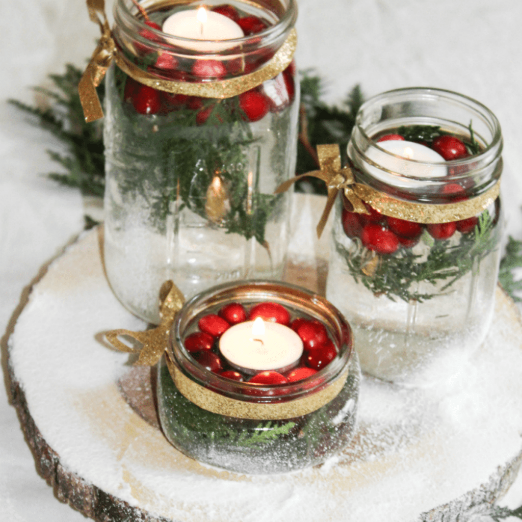 diy-holiday-centerpiece-with-cranberries-and-greenery