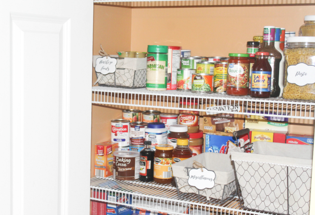 pantry organizing - canned and bottled foods