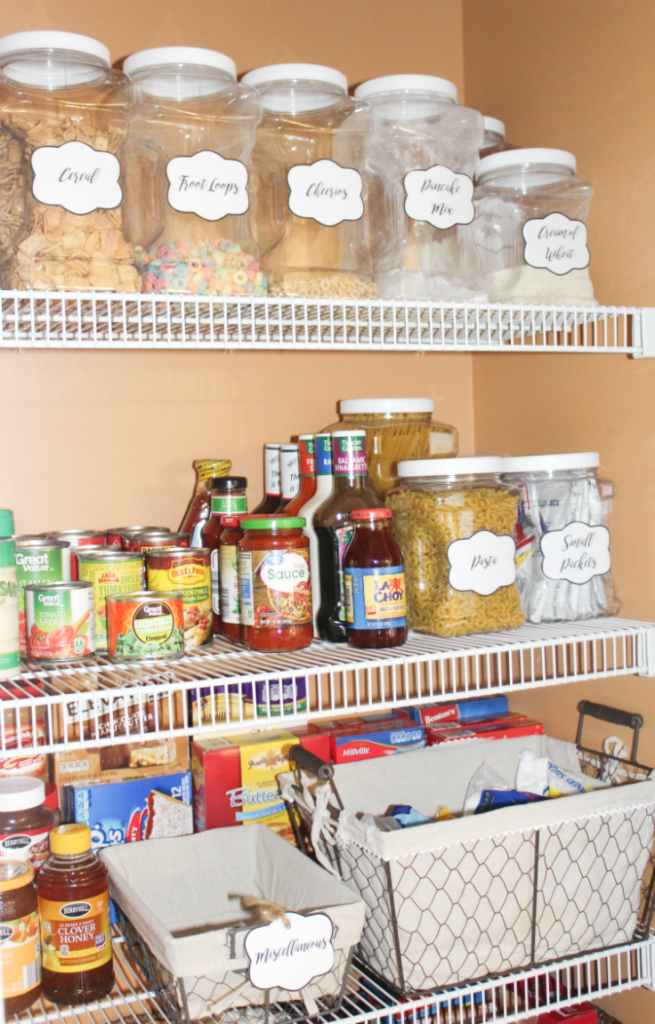 pantry organizing with baskets and jars