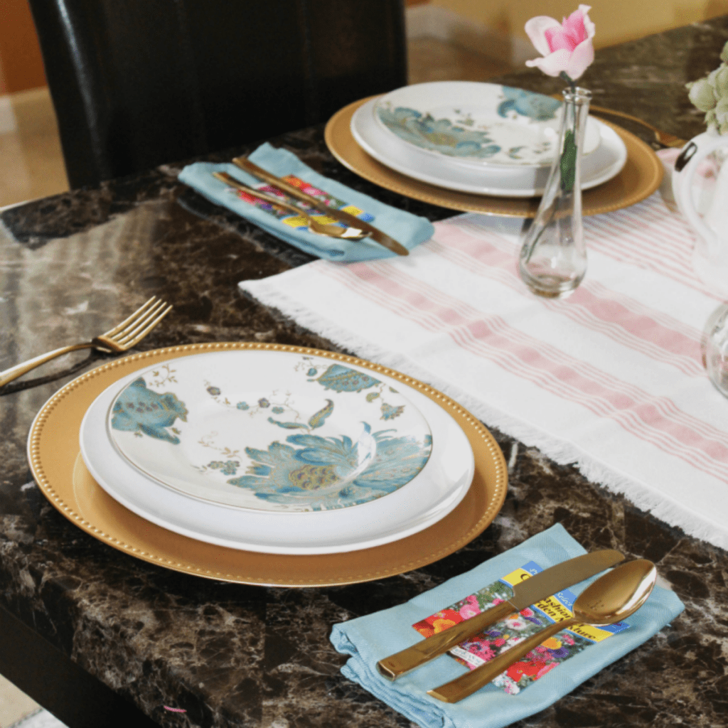 Spring dinning table setting -
