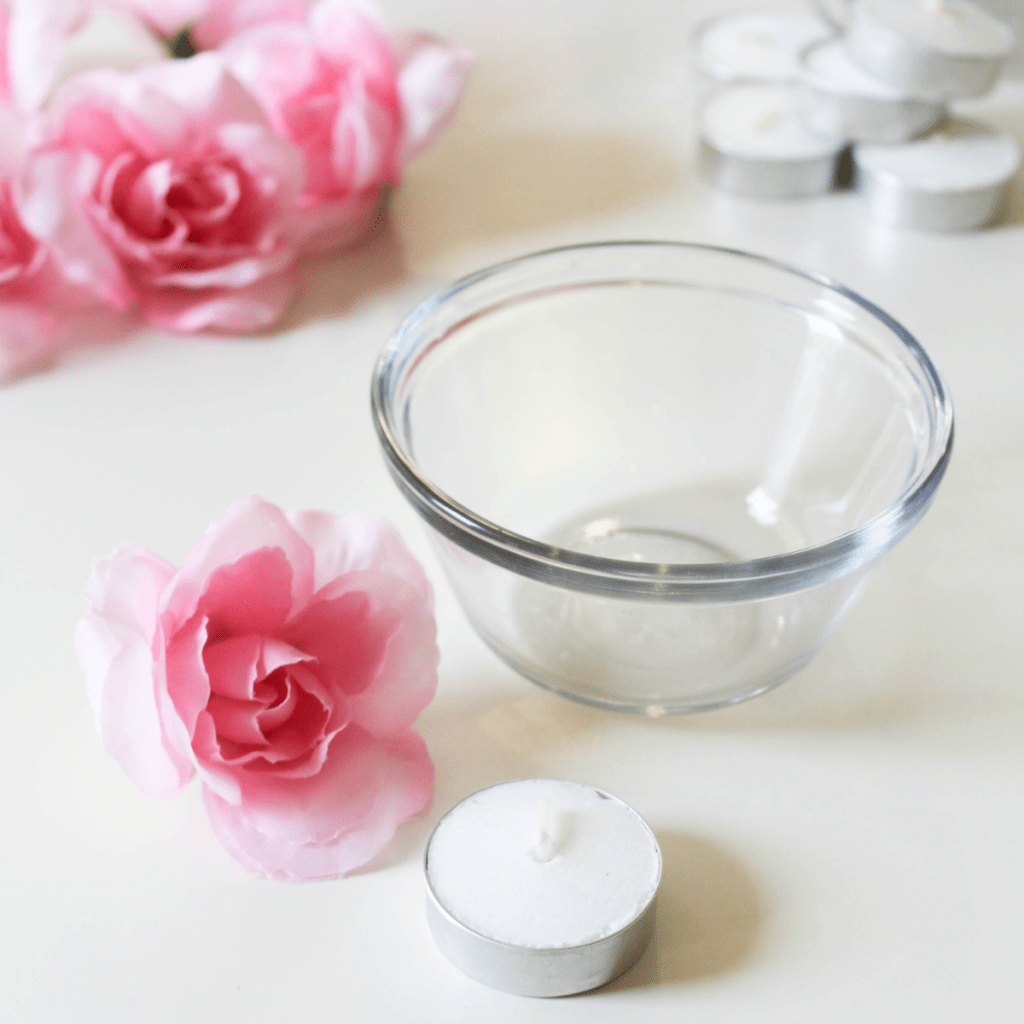 Spring Centerpiece - bowls - candle - flowers