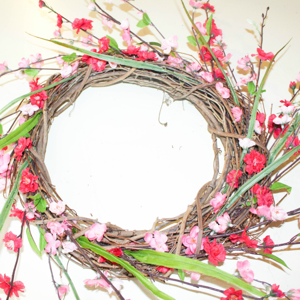 DIY Summer Wreath - Spring Wreath - Faux Flowers - At Home With Zan