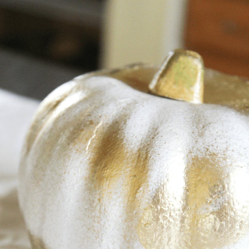 Painting Pumpkins - Gold and White Spray Paint - At Home With Zan