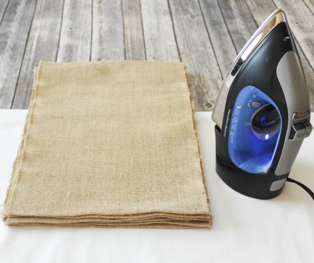 DIY Burlap Placemats - Ironing Placemats - At Home With Zan-