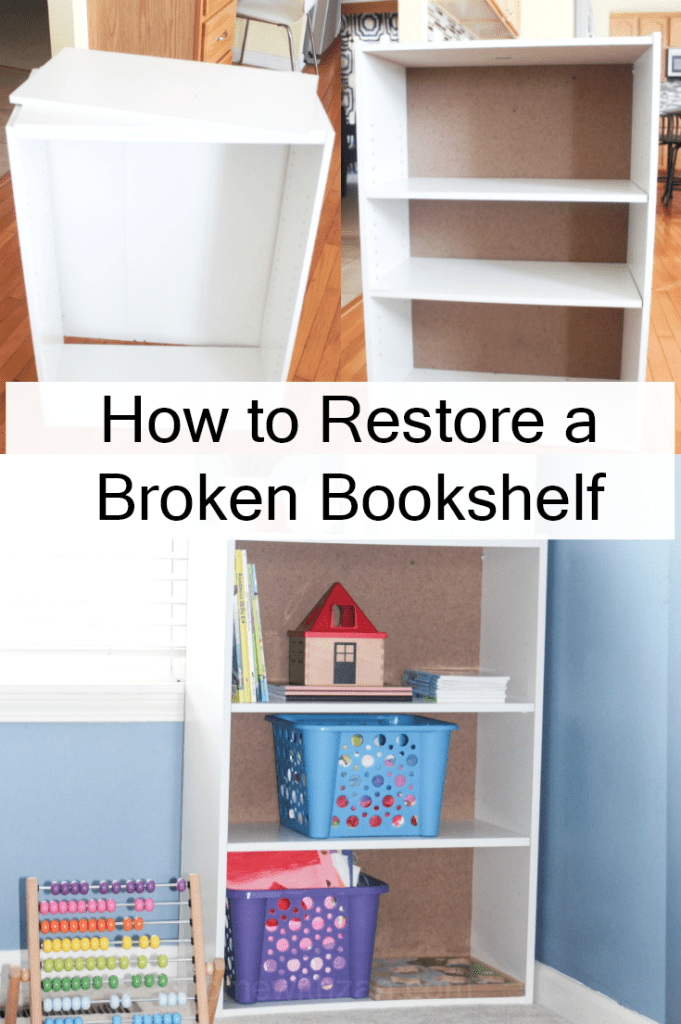 How to Restore a Broken Bookshelf - New Cardboard Backing - At Home With Zan