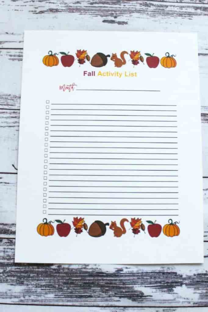 Fall Activity List