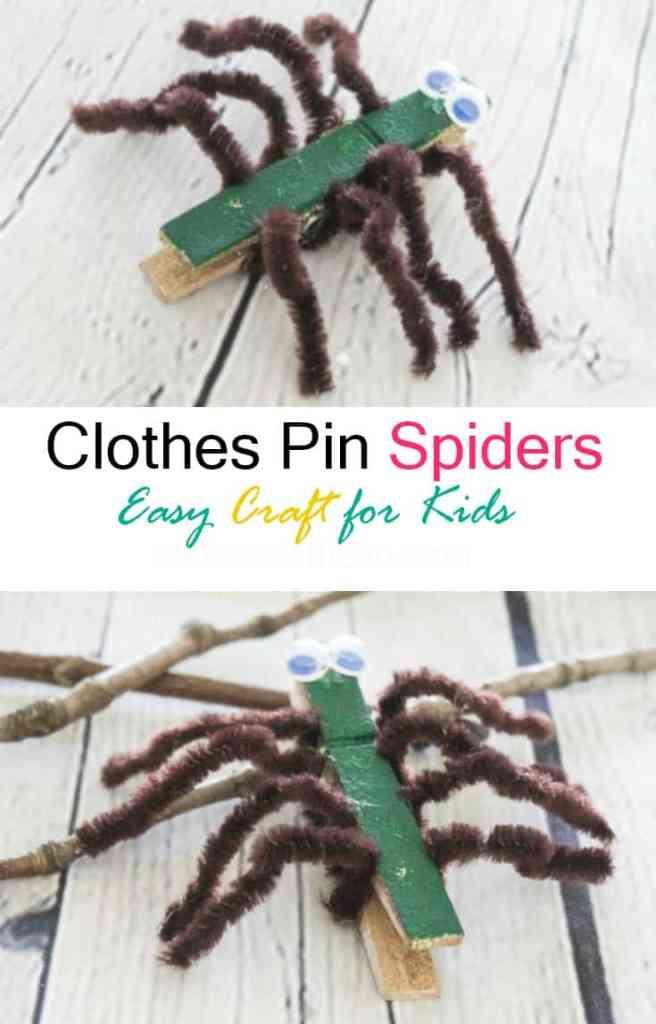 Clothespin Sider - Spider Craft - Athomewithzan.com
