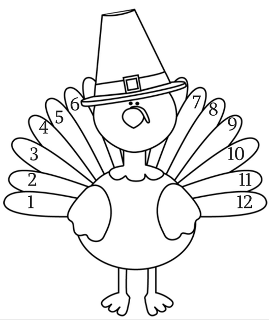 coloring page free printable learn to count thanksgiving craft