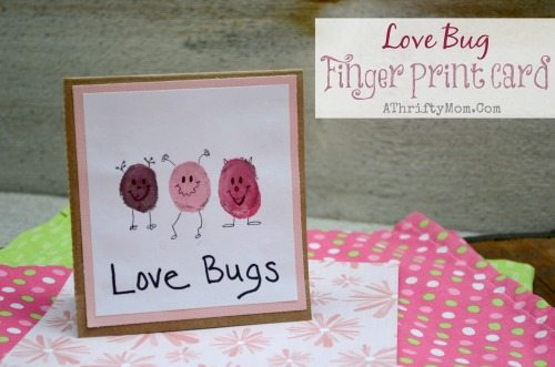 Easy Homemade Card Idea Love Bog Finger Print Card