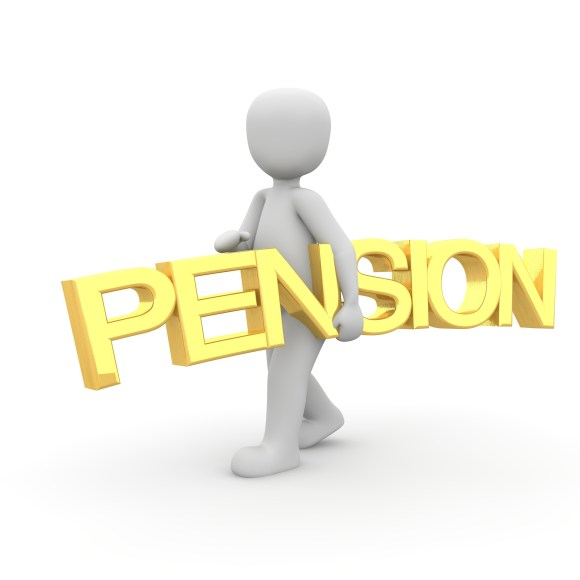 White figurine carrying a golden pension sign