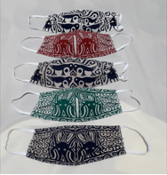 Printed masks depicting classic Toraja house and textile motifs. Photo credit: Frans Pongsamma.