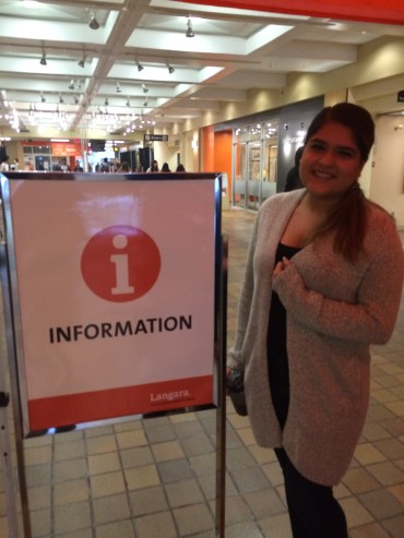Sunena Auluck at her information booth, happy to be able to provide help to Langara Students