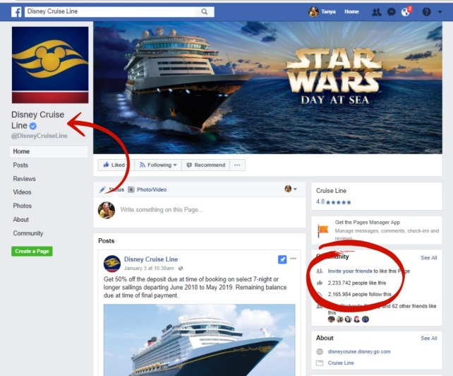 fake page vs. real