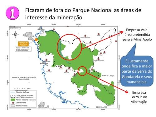 Área do Parque Nacional deixou de fora exatamente a Serra, que a Vale quer destruir para explorar ferro. Crédito da Arte: Salve a Gandarela