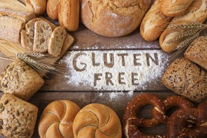gluten free breads on wood background
