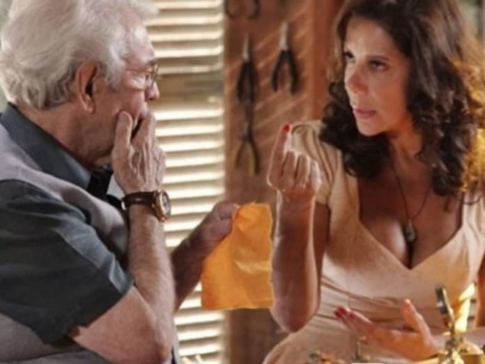 Lindaura (Angela Vieira) e Samuel (Juca de Oliveira) em 'Flor do Caribe' (Globo)