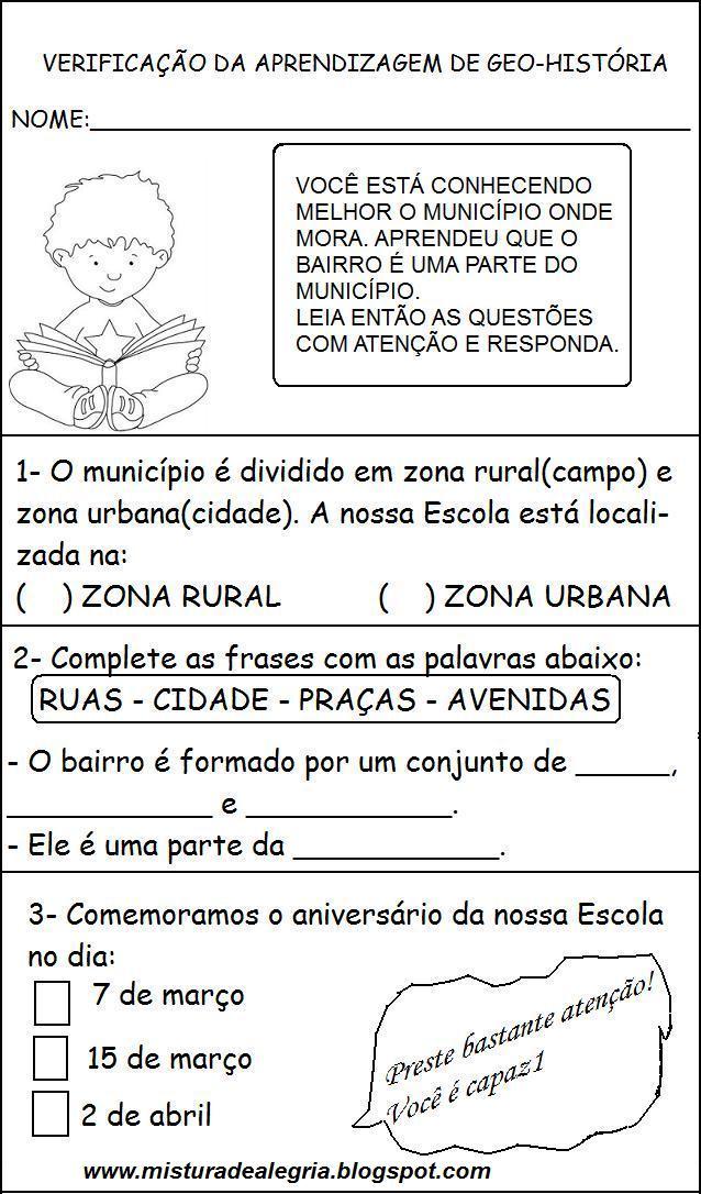 Famosos AVALIAÇÃO DE GEOGRAFIA- HISTÓRIA 3º ANO - Atividades Pedagógicas SE99