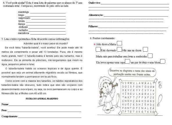 Avaliações de Língua Portuguesa 5º ano