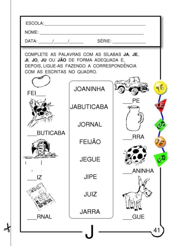 Top ATIVIDADES COM LETRA J PRONTAS PARA IMPRIMIR SR04