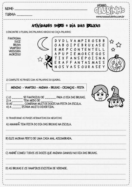 Atividade Halloween ensino fundamental